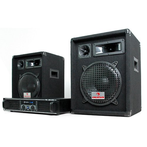 DJ Set 'Nizza Nights' impianto audio completo PA (2 x casse altoparlanti AUNA 480 Watt, Amplificatore Skytec finale di potenza 2 x 240 Watt, MOSFET, set di cavi)
