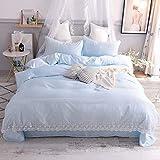 XMDNYE Wasser Gewaschen Seide Spitze Spitzen Bettwäsche Sommer Einfarbig Doppeldecke Vier Stück 1,8 M Bettwäsche, Hellblaues Wasser, 1,5 M (5 Fuß) Bett