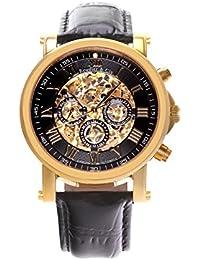 Automatik Armbanduhr von Boudier & Cie für Männer mit einem echten Diamanten mit  Schwarzem Zifferblatt Analoger Anzeige und Schwarzem Armband aus Leder SK14H042