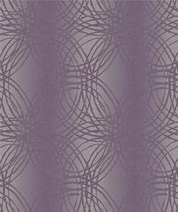 Plum Purple - BOA-015-02-5 - Leon - Glitter Stripe Circles - Ideco Wallpaper by Ideco by Ideco