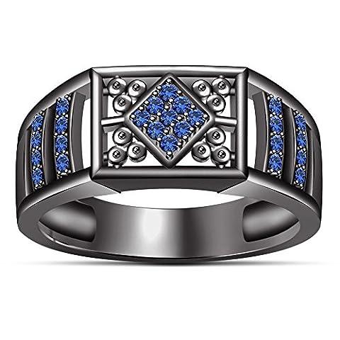 Vorra Fashion Design Rund Blau Saphir 925Sterling Silber schwarz rhodiniert Herren Ring