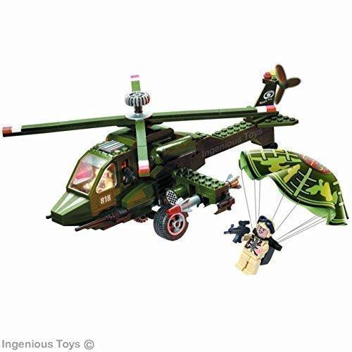 Elicottero militare con razzi compatibili, blocchi da costruzione (818)