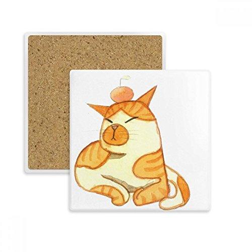 DIYthinker Miaoji Malerei Aquarell orange Katzen-Quadrat-Coaster-Schalen-Becher-Halter Absorbent Stein für Getränke 2ST Geschenk Mehrfarbig - Orange Aquarell