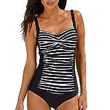 POLPqeD Donna da Bagno Sexy Bandeau Imbottito Spingere su off Spalla Costume da Bagno Costume da Spiaggia Stampa a Righe Costumi da Bagno Bikini Set