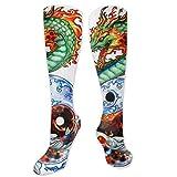 MSONNET Tai Chi Dragons De L'Orient des Performances 3D dégradé Chaussettes de Compression pour Femme Homme Unisexe/Bas pour la Course à Pied/infirmières/Tibial/diabétique/de Voyage/de Grossesse