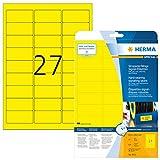 Herma 8031 Wetterfeste Folienetiketten gelb (63,5 x 29,6 mm) 675 Aufkleber, 25 Blatt A4 Klebefolie matt, bedruckbar, stark selbstklebend
