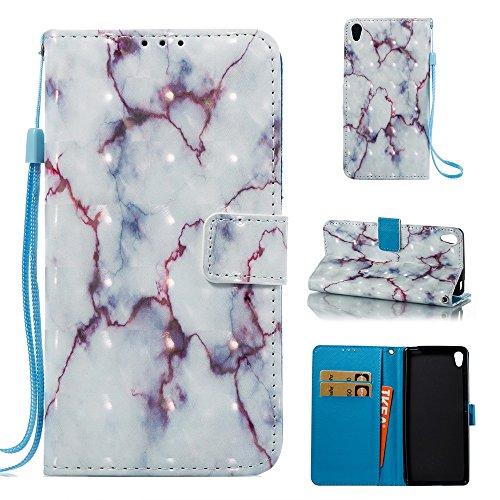 Marmor Stein Getreide Texure Muster PU Ledertasche Cover, Retro Bookstyle Flip Stand Case mit Magnetverschluss & Card Slots & Lanyard für SONY Xperia XA ( Color : F ) D