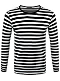 Männer Langarm T-Shirt schwarz/weiß gestreift