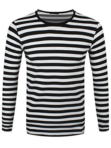 Schwarz Gestreift Langarm (Männer Langarm T-Shirt schwarz/weiß gestreift)