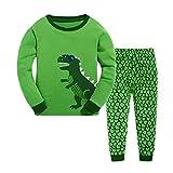 Rebavl Kinder Grün Dinosaurier Langarm Schlafanzug Baumwolle Runder Kragen Pyjama Sets Herbst Winter Größe 92-128