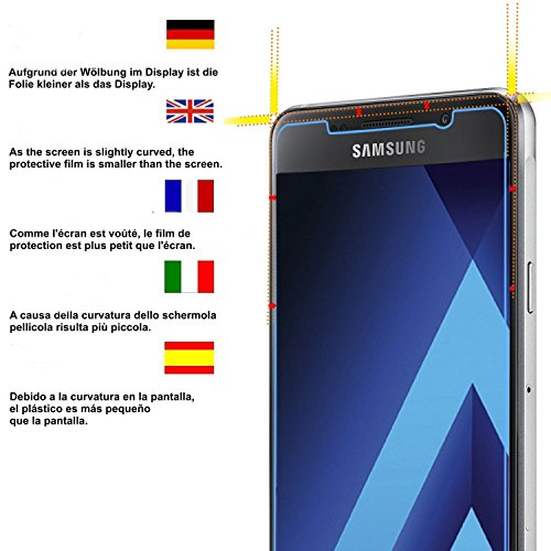 [2-Pack] Samsung Galaxy A3 2017 Displayschutzfolie, HoPerain [Hartglass] Panzerglas Schutzfolie,9H Hartglass, Anti-Kratzer, Anti-Fingerabdruck - 3