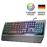 Trust GXT Halbmechanische LED Gaming Tastatur (Deutsches QWERTZ Layout, RGB-Beleuchtung,...