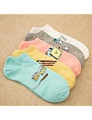 XIU*RONG Señora Calcetines Calcetines De Algodón Barco Comodidad Desodorante Amarilla Bare Socks (10 Pares)