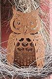 Edelrost Eule, tierische Gartendeko aus rostigen Metall