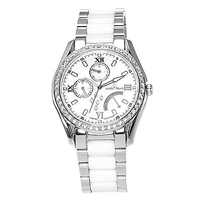 Stella Maris STM15M1- Reloj pulsera analógico de cuarzo para mujer (con diamantes), correa de cerámica Blanco de Stella Maris