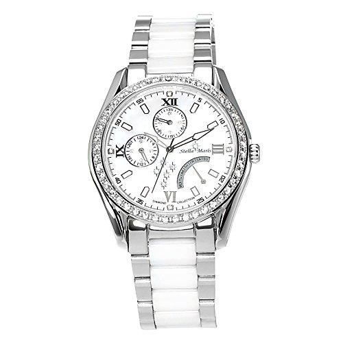 Stella Maris STM15M1- Reloj Pulsera analógico de Cuarzo para Mujer (con Diamantes), Correa de cerámica Blanco