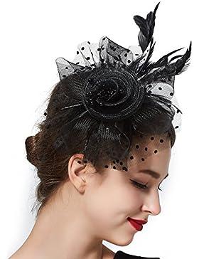 Sombrero con diadema de plumas y clip para pelo para mujeres y niñas