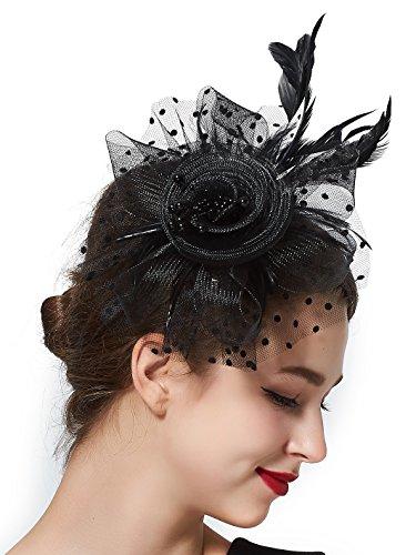 ochzeithüte für Frauen, Fascinator Haarreifen und Clips, Baretthüte Gr. Einheitsgröße, schwarz (Tea-party-kostüme)