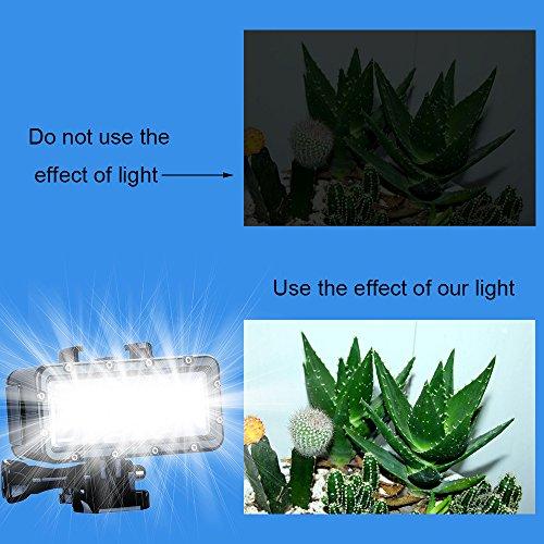 SupTig, wasserdicht HIGH POWER dimmbar Dual Akku Wasserdicht LED Video Licht Füllen Nacht Licht tauchen Unterwasser Licht für GoPro Hero 5Hero 4Hero 3Plus Hero 3Hero Session und SJCAM oder xiaoyi