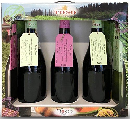Toso Vino Blanco Moscato Y Brachetto Vino Tinto - Paquete De 3 X 750 Ml - Total: 2250 Ml