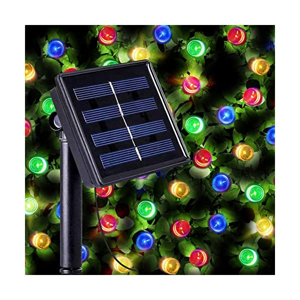 100 Multi Colour LED Solar Fairy Lights – Waterproof Solar String Lights with Built-in Night Sensor for Christmas, Outdoor, Garden, Fence, Path by SPV Lights (Free 2 Year Warranty Included) 51gJWGIxGOL
