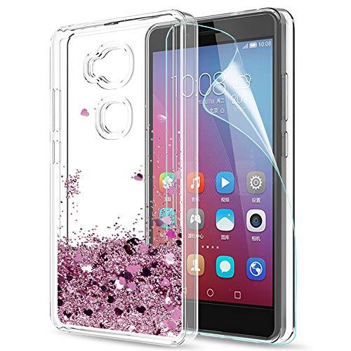 LeYi Hülle Huawei Honor 5X / GR5 Glitzer Handyhülle mit HD Folie Schutzfolie,Cover TPU Bumper Silikon Flüssigkeit Treibsand Clear Schutzhülle für Case Huawei Honor 5X/GR5 Handy Hüllen ZX Rot Rosegold