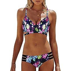 f3d9bede2f Mosstars Costumi da Bagno Donna Due Pezzi Set Bikini Donna Push-up  Reggiseno Imbottito Mare