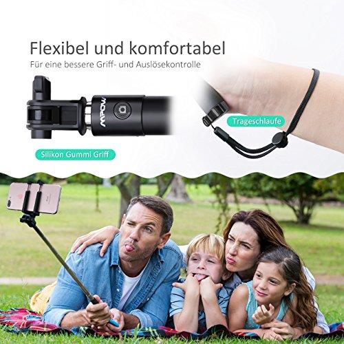Mpow iSnap X U-Form Selfie Stange Erweiterbar Selfie-Stick mit integrierter Bluetooth Fernauslöser für iPhone 6 6S 6 Plus 6S Plus 5S 5 5C 4S 4, HTC M9 M8, Samsung,Sony Z5 Z4 Z3 Compact, MP3 Players usw. - Schwarz - 3