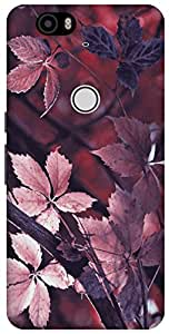 The Racoon Lean leafy autumn mauve hard plastic printed back case / cover for Huawei Nexus 6P