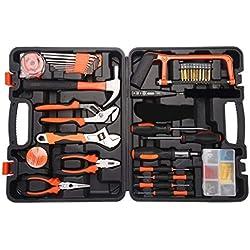 Multi Haushalts-Werkzeugkoffer 100-Teilige Werkzeugset Werkzeugsatz DIY Kits Set Inkl. wasserpumpenzange Hammer Schraubendreher Steckschlüsselsatz uvm für Garage Auto Garten