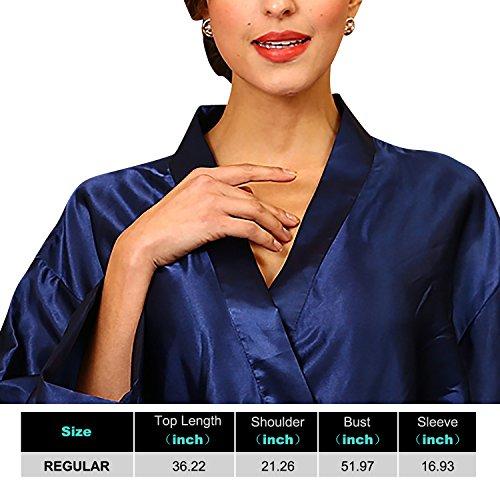 Dolamen Unisex Kimono Robe Femmes Homme, Femmes Chemises de nuit, Robe peignoir en satin de soie Robe de nuit , Buste 132cm, 51.97 pouces, grande taille pour tout le monde Bleu foncé