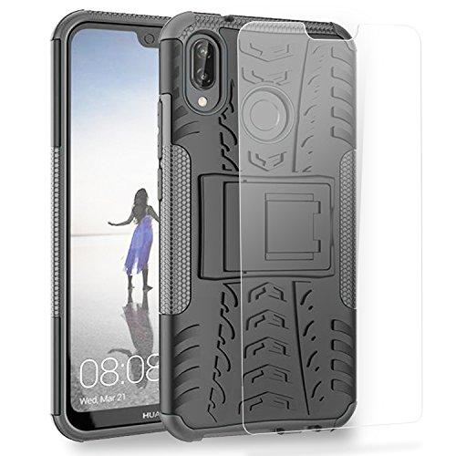 Olixar Huawei P20 Lite Schutzhülle und Panzerglas - Ganzkörper Schutzhülle - Case + Screen Protector - Hülle Militärisch/Outdoor ArmourDillo - Schwarz