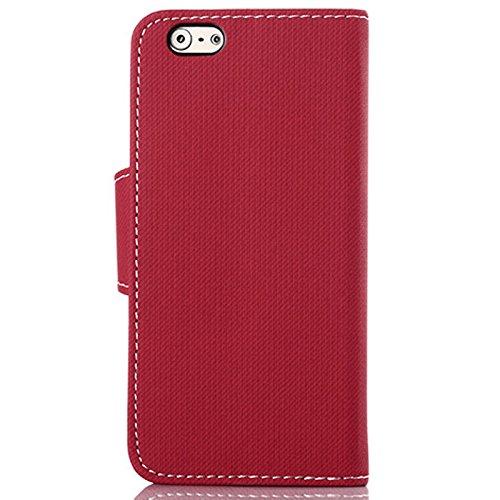 wortek Flip Case Jeans Look Apple iPhone 6 4,7 Zoll Tasche Etui Magnetverschluss Standfunktion & Kartenfach Weiß Rot