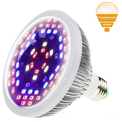 SHEKAR 24W LED Pflanzenlampe E27 78 Leds SMD Vollspektrum Pflanzenleuchte Pflanzenlicht LED Wachsen Licht Birne Wachstumslampe für Zimmerpflanzen Gemüse und Blumen (mit Glasabdeckung)