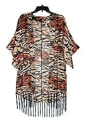 URBAN TRENDZ 2472 Polyester Animal Printed Kimono topper