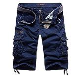Elonglin Homme Eté Outdoor Cargo Shorts Coton Bermuda Pantacourt SANS CEINTURE Bleu Foncé FR 40 (Asie 32)