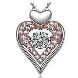 Muttertagsgeschenke Anhänger Halskette Dancing Heart Ewige Liebe Damen Kette Silber 925 Anhänger Halskette Schmuck Geschenk für Valentinstag Muttertag Geburtstag Abschluss Verlobung Jubiläum
