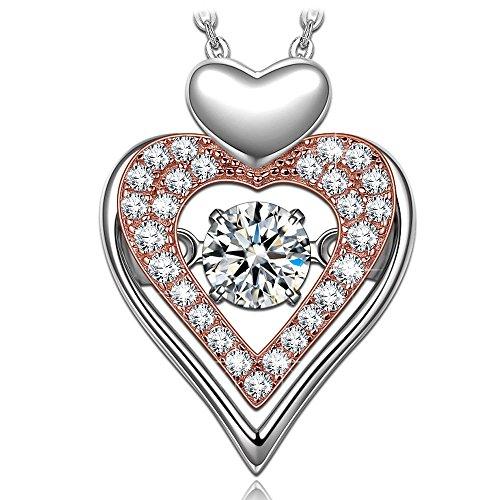 Dancing heart regalo per la festa della mamma amore eterno collana donna in argento 925 fidanzamento anniversario compleanno san valentino festa della mamma regali per fidanzata moglie matrimonio