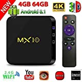 TV Box Android 8.1, 4G 64G LinStar MX10 Smart 4K TV Box RK3328 Quad Core con 4K (60Hz) Full HD / H.265 / WiFi Set Top Box con TV 3D 4K Reproductor de Medios Ultra HD con Control Remoto