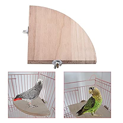 Fdit Platform Wood Bird Cage Perch Stand Fan Shape Parrot Hamster Small Animal Pet Budgie Toy(13 * 13Cm/5 * 5Inch) 6