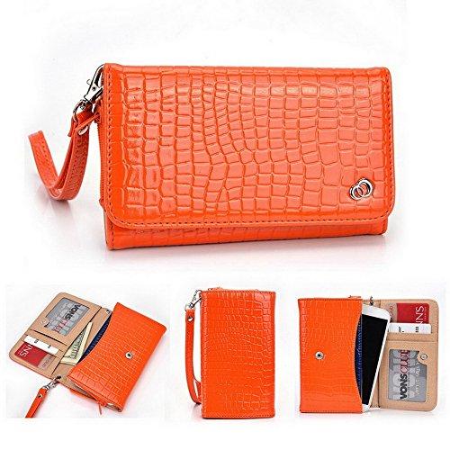 Kroo Dragonne Étui portefeuille universel pour smartphone Croco Prune Gator/Hache Plus Mobile Orange - orange Orange - orange