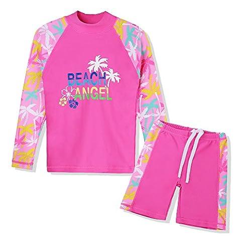 HUANQIUE Girls 2 Pieces HotPink LongSleeve Swimsuit Summmer Print Flower