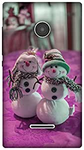 The Racoon Lean tiny snowman pink hard plastic printed back case for Microsoft Lumia 435
