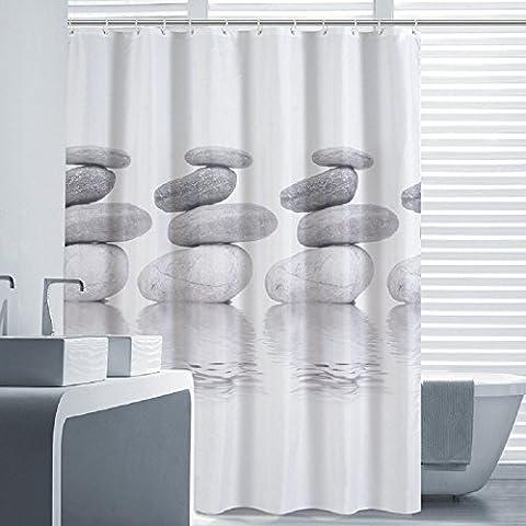 Lifewit Rideau de Douche Galet Imprimé Imperméable Rideau de Salle de Bains Etanche avec 12 Anneaux Crochets 180 * 180cm Gris