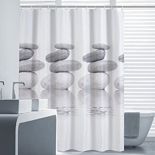 Lifewit Cortina de Baño de Tela Impermeable Resistente al Moho Cortina de Ducha del color Gris 180x180CM con 12 Anillos