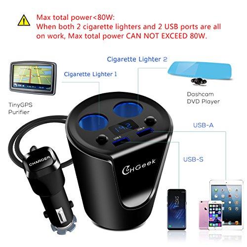 CHGeek-Caricatore-per-Auto-USB-Caricabatteria-da-Auto-80W-12V-24V-con-2-Porte-USB-31A-2-accendisigari-Auto-per-iPhone-iPad-Android-Samsung-GPS-Dash-CamNero