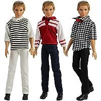 blanco y gris Ken barbie ropa,3pcs Traje de novio Ropa Chaqueta Camisa Pantalones para Novio Mu/ñeco Barbie color negro