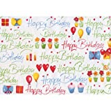 "Susy Card 11136132 - Papel de regalo (10 m), diseño con texto ""happy birthday"""