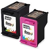 Ilooxi Remanufactured HP 304XL 304 Druckerpatronen Schwarz/Tri-Farbe 2er-Pack für HP DeskJet 3720 3730 3732 3735 2620 2630 HP Envy 5020 Tintenpatronen