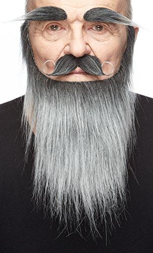 Mustaches Selbstklebende Neuheit Medieval King Fälscher Bart Fälscher Schnurrbart und Fälscher Augenbrauen für Erwachsene Salz und Pfeffer Farbe (Erwachsenen Salz Kostüme)